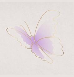 Purple butterfly sticker aesthetic gradient line vector
