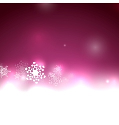Purple Christmas lights and snowflakes vector image
