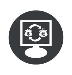 Round dollar euro monitor icon vector image