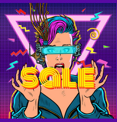 sale online shopping surprised woman in virtual vector image
