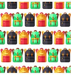 School and travel flat backpacks seamless pattern vector