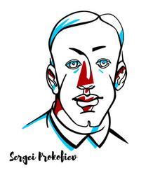 sergei prokofiev portrait vector image