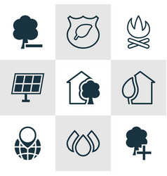 Set of 9 ecology icons includes pin earth aqua vector