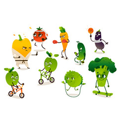 Set of funny vegetables doing sport exercises vector