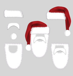 set of santa accessories hats moustache beard vector image