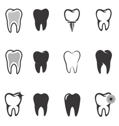Set of tooth icons stomatology design elements vector
