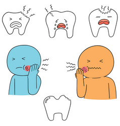 Set of toothache vector