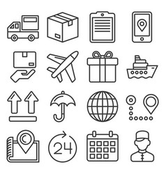 shipping and delivery icons set on white vector image
