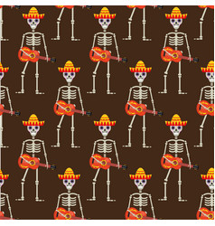 Skeleton in sambrero guitar seamless pattern vector
