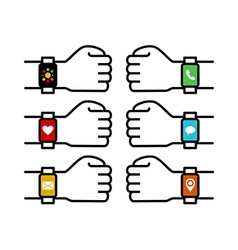 Smart watch set with people hands and app icons vector