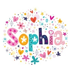 Sophia female name decorative lettering type vector
