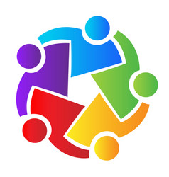 Teamwork people hugging and coming together icon vector