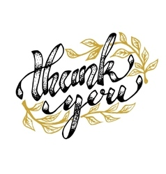 Thank you Hand drawn lettering isolated on white vector image
