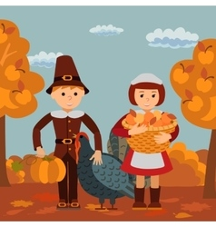 Thanksgiving day children apples and turkey vector