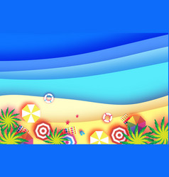 top view parasols - umbrella in paper cut style vector image