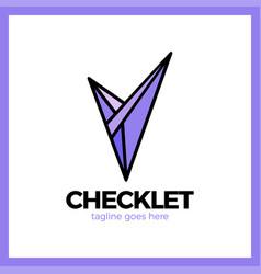 v letter in trendy polygonal crystal style vector image