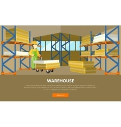 Warehouse Conceptual Web Banner in Flat vector