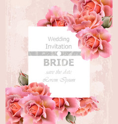wedding invitation roses card floral frame vector image