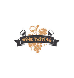 wine tasting badge winery logo template drink vector image