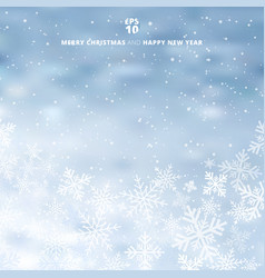 winter blurred blue background with snow and vector image