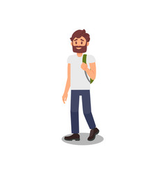 young man walking with backpackhealthy and active vector image