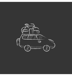 Car with bicycle mounted to the roof Drawn in vector image vector image