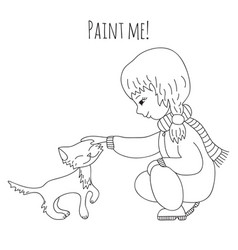 coloring girl and cat vector image