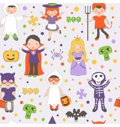Halloween kids pattern vector image vector image