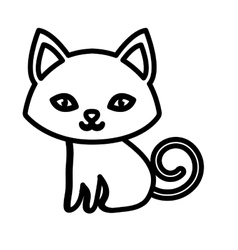 kitten soft animal friendly outline vector image vector image