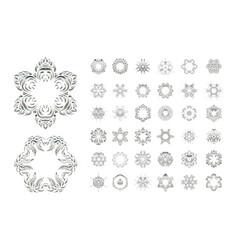 set of arabic mandala on white backgroun vector image