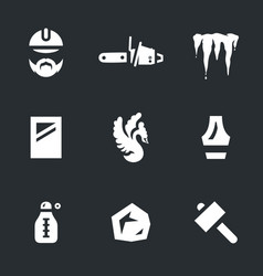 Set of ice carving icons vector