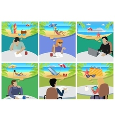 Woman and Man Sitting on Chair Dreaming About Rest vector image