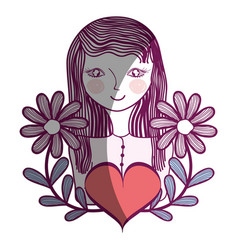 Woman with flowers branches and heart vector