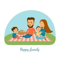 A happy family Camping Picnic A family Cartoon vector image