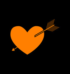 arrow heart sign orange icon on black background vector image