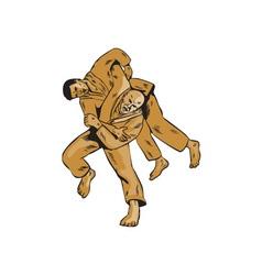 Judo Combatants Throw Front Etching vector image vector image