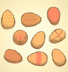 Sketch Easter eggs set in vintage style vector image vector image
