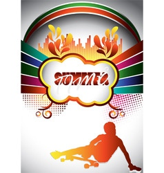 abstract summer composition with longboarder vector image vector image
