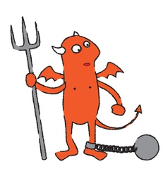 Chained devil cartoon vector image vector image