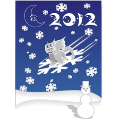dragon on snowflake vector image vector image