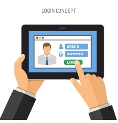 Login concept on tablet PC vector image vector image