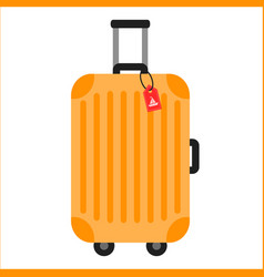 orange travelling baggage suitcase vector image