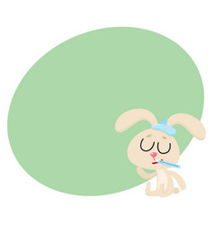 sick rabbit having flu sitting with ice pack vector image vector image