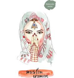 turkish woman watercolor vector image vector image