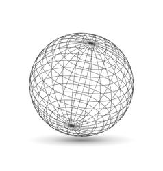 Wireframe globe icon 3d version vector image vector image