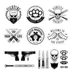 Gangster monochrome labels badges emblems and vector image