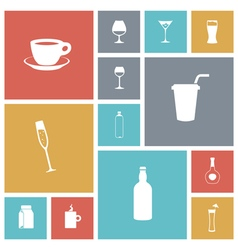 icons tile drinks vector image