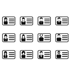 id card head icon set vector image vector image