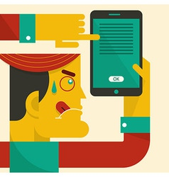 Man looking at smart phone vector image