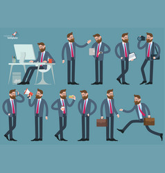 man various poses and activities vector image